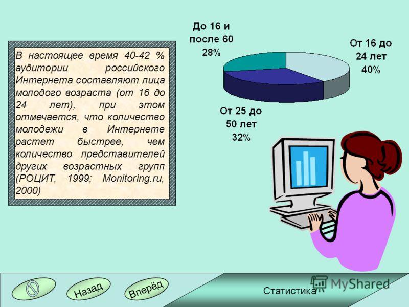 Вперёд Назад В настоящее время 40-42 % аудитории российского Интернета составляют лица молодого возраста (от 16 до 24 лет), при этом отмечается, что количество молодежи в Интернете растет быстрее, чем количество представителей других возрастных групп