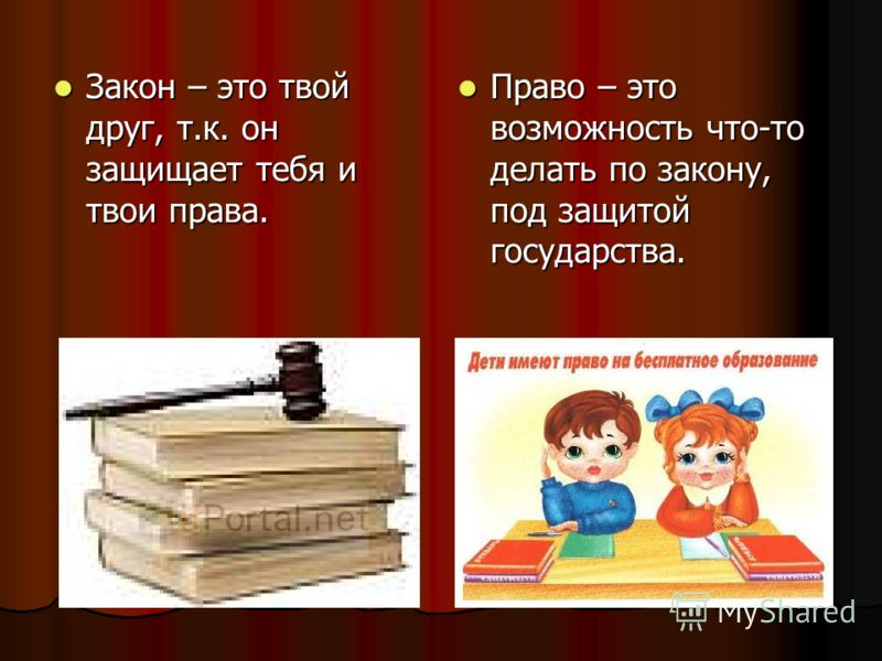 Закон – это твой друг, т.к. он защищает тебя и твои права. Закон – это твой друг, т.к. он защищает тебя и твои права. Право – это возможность что-то делать по закону, под защитой государства. Право – это возможность что-то делать по закону, под защит