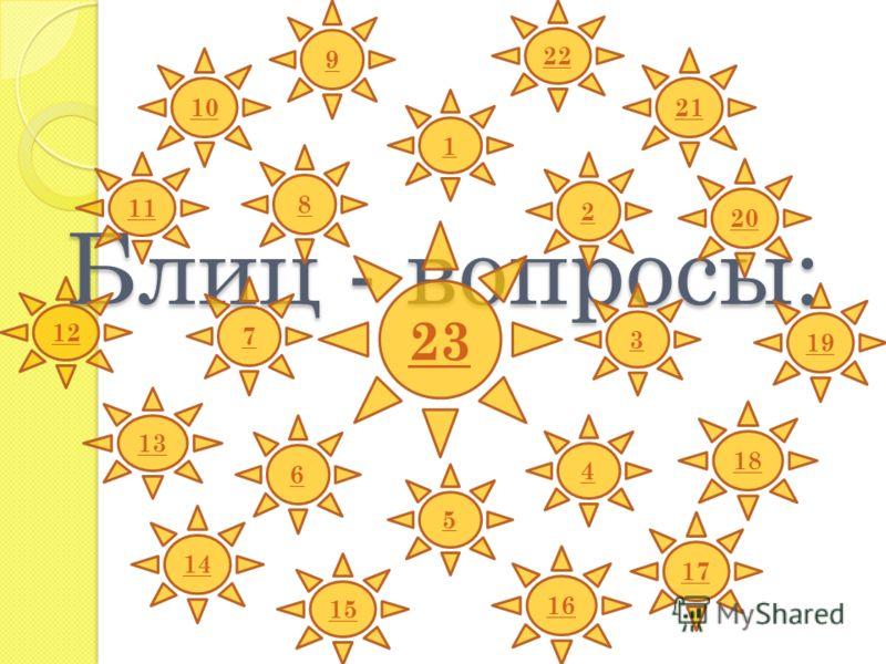 Блиц - вопросы: 1 2 19 11 3 12 22 13 4 5 23 16 20 7 9 6 18 8 15 14 10 17 21