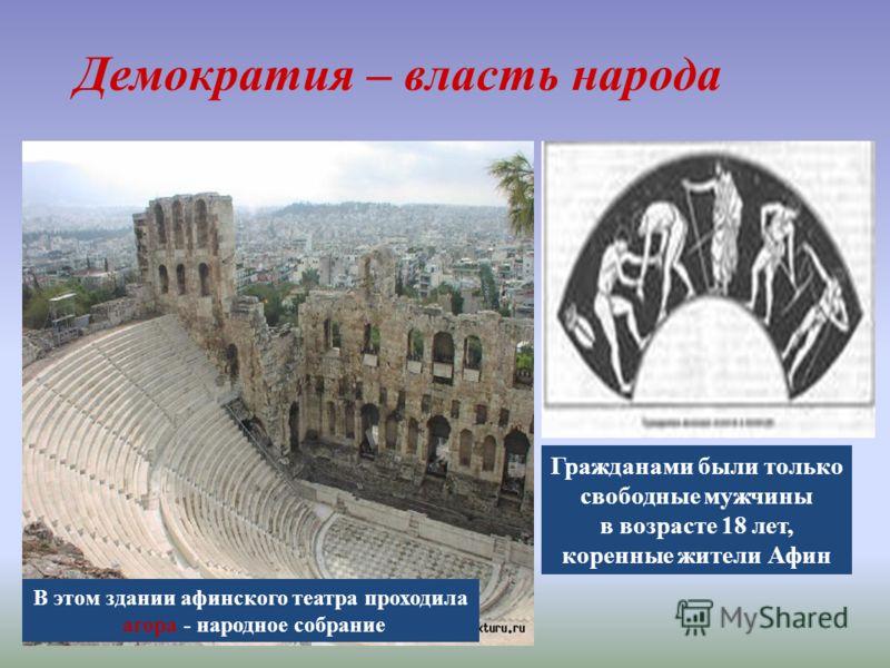 В этом здании афинского театра проходила агора - народное собрание Гражданами были только свободные мужчины в возрасте 18 лет, коренные жители Афин Демократия – власть народа