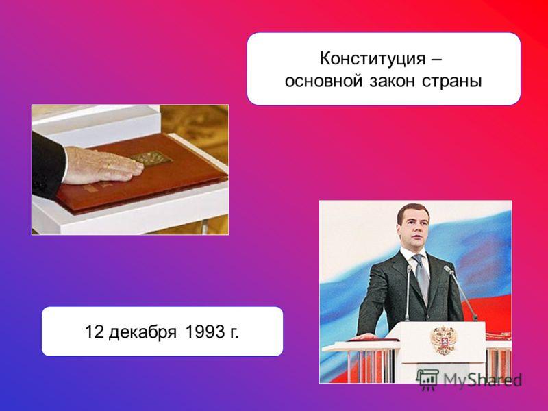 Конституция – основной закон страны 12 декабря 1993 г.