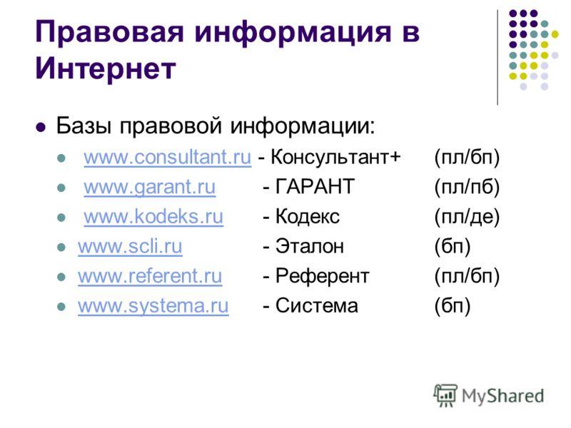 Правовая информация в Интернет Базы правовой информации: www.consultant.ru - Консультант+(пл/бп)www.consultant.ru www.garant.ru - ГАРАНТ(пл/пб)www.garant.ru www.kodeks.ru- Кодекс(пл/де)www.kodeks.ru www.scli.ru - Эталон(бп) www.scli.ru www.referent.r