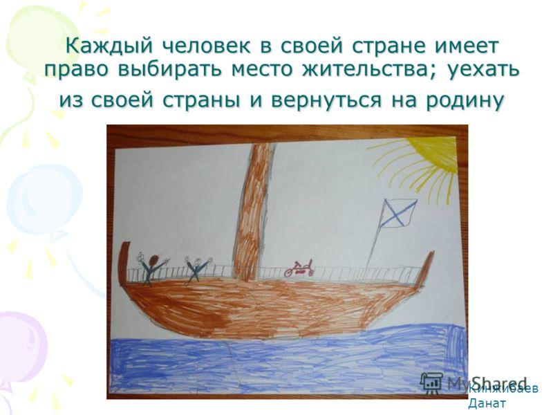 Каждый человек в своей стране имеет право выбирать место жительства; уехать из своей страны и вернуться на родину Кинжибаев Данат