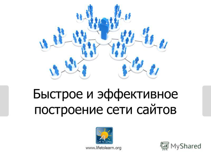 www.lifetolearn.org Быстрое и эффективное построение сети сайтов www.lifetolearn.org