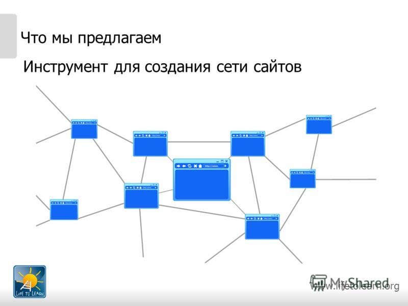 www.lifetolearn.org Что мы предлагаем Инструмент для создания сети сайтов