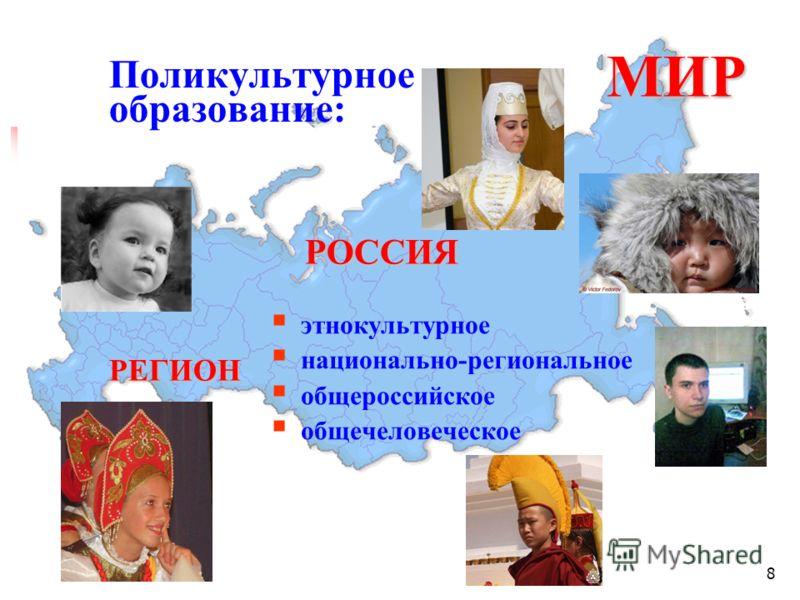 8 Поликультурное образование: МИР МИР РОССИЯ РОССИЯРЕГИОН этнокультурное национально-региональное общероссийское общечеловеческое