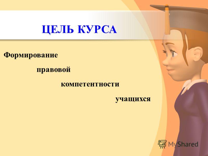 Формирование правовой компетентности учащихся ЦЕЛЬ КУРСА
