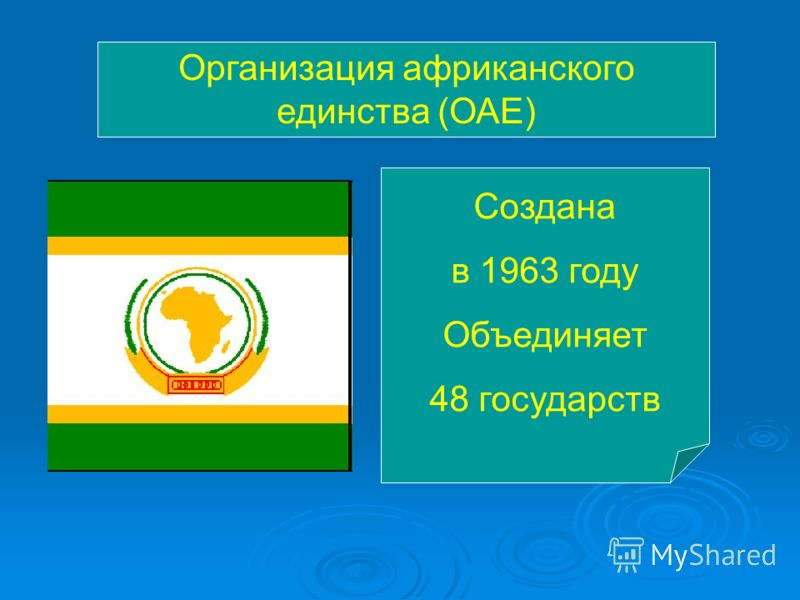 Организация африканского единства (ОАЕ) Создана в 1963 году Объединяет 48 государств
