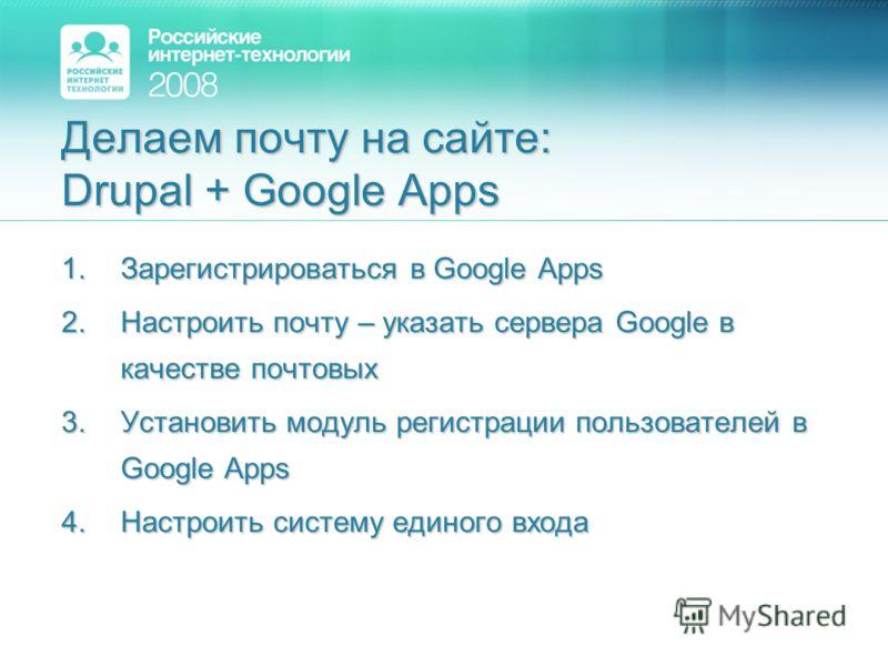 Делаем почту на сайте: Drupal + Google Apps 1.Зарегистрироваться в Google Apps 2.Настроить почту – указать сервера Google в качестве почтовых 3.Установить модуль регистрации пользователей в Google Apps 4.Настроить систему единого входа