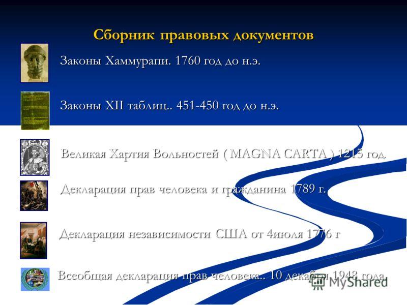 Сборник правовых документов Законы Хаммурапи. 1760 год до н.э. Законы XII таблиц.. 451-450 год до н.э. Великая Хартия Вольностей ( MAGNA CARTA ) 1215 год. Великая Хартия Вольностей ( MAGNA CARTA ) 1215 год. Декларация независимости США от 4июля 1776