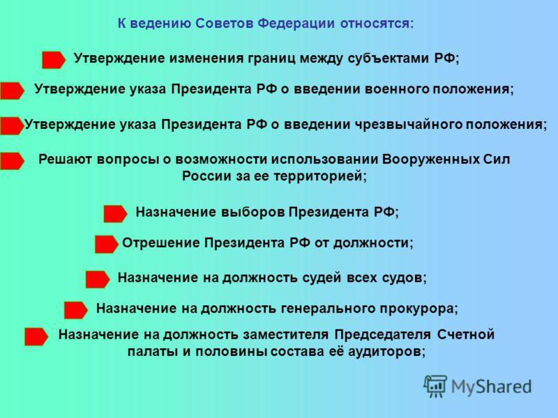 К ведению Советов Федерации относятся: Утверждение изменения границ между субъектами РФ; Утверждение указа Президента РФ о введении военного положения; Утверждение указа Президента РФ о введении чрезвычайного положения; Решают вопросы о возможности и