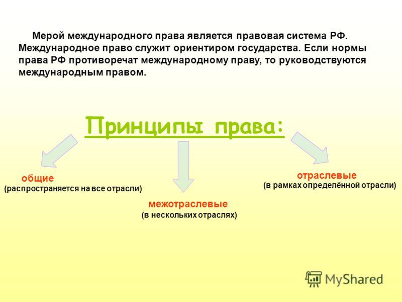 Мерой международного права является правовая система РФ. Международное право служит ориентиром государства. Если нормы права РФ противоречат международному праву, то руководствуются международным правом. Принципы права: общие межотраслевые отраслевые