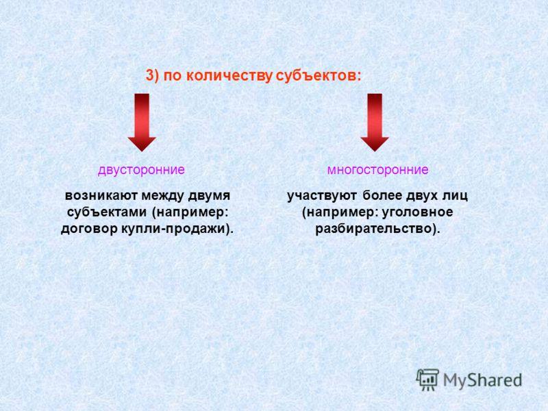 3) по количеству субъектов: двусторонниемногосторонние возникают между двумя субъектами (например: договор купли-продажи). участвуют более двух лиц (например: уголовное разбирательство).