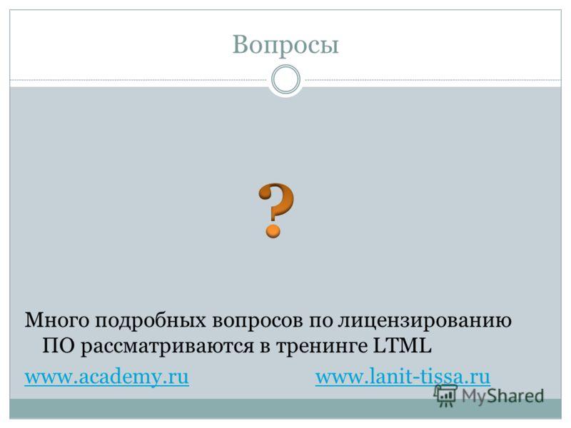 Вопросы Много подробных вопросов по лицензированию ПО рассматриваются в тренинге LTML www.academy.ruwww.academy.ru www.lanit-tissa.ruwww.lanit-tissa.ru