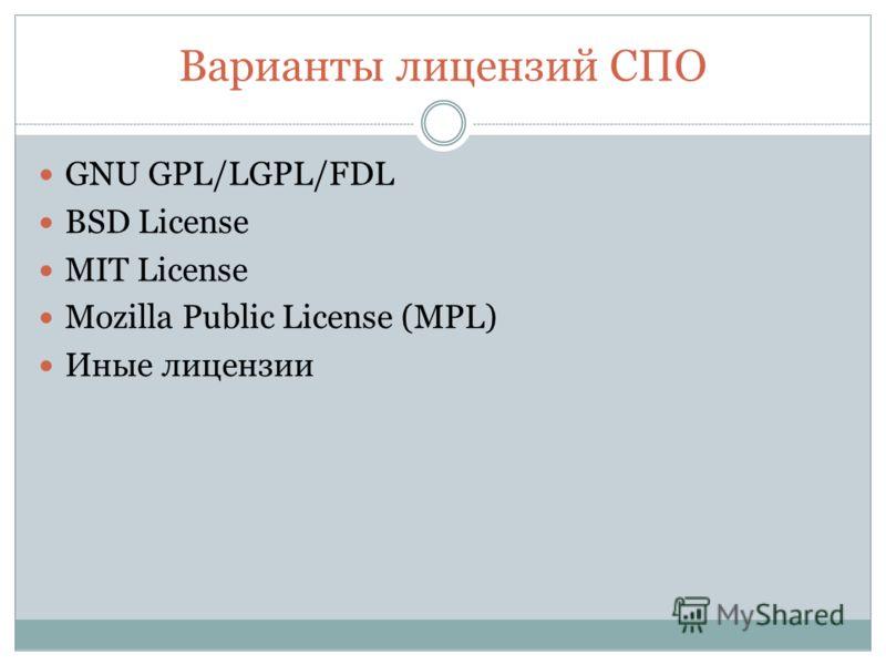 Варианты лицензий СПО GNU GPL/LGPL/FDL BSD License MIT License Mozilla Public License (MPL) Иные лицензии