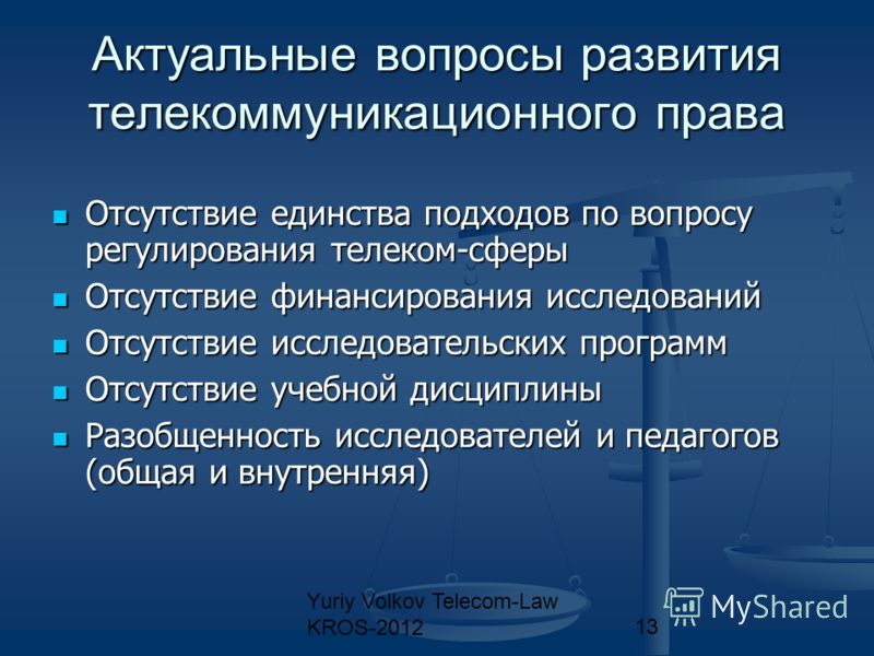 Yuriy Volkov Telecom-Law KROS-201213 Актуальные вопросы развития телекоммуникационного права Отсутствие единства подходов по вопросу регулирования телеком-сферы Отсутствие единства подходов по вопросу регулирования телеком-сферы Отсутствие финансиров