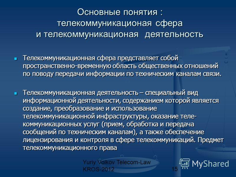 Yuriy Volkov Telecom-Law KROS-201215 Основные понятия : телекоммуникационая сфера и телекоммуникационая деятельность Телекоммуникационная сфера представляет собой пространственно-временную область общественных отношений по поводу передачи информации