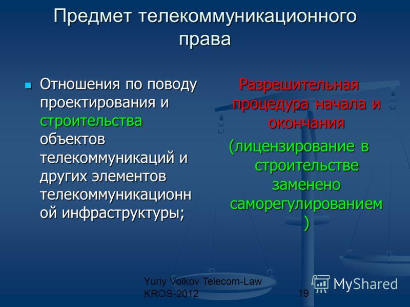 Yuriy Volkov Telecom-Law KROS-201219 Предмет телекоммуникационного права Отношения по поводу проектирования и строительства объектов телекоммуникаций и других элементов телекоммуникационн ой инфраструктуры; Отношения по поводу проектирования и строит