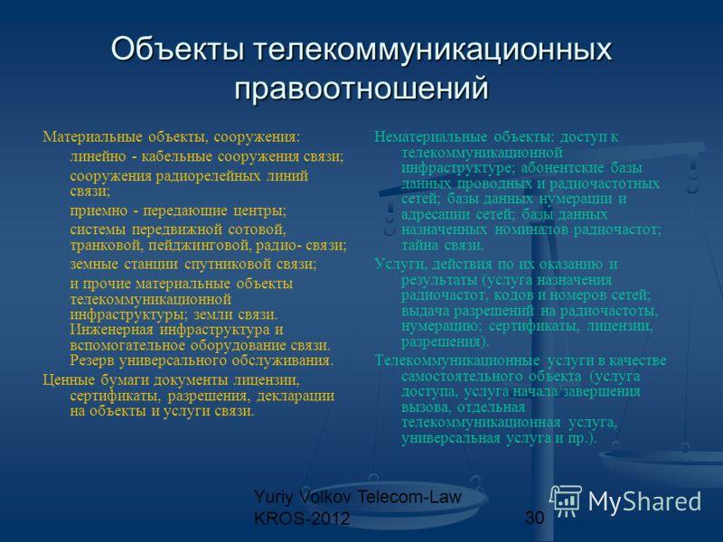Yuriy Volkov Telecom-Law KROS-201230 Объекты телекоммуникационных правоотношений Материальные объекты, сооружения: линейно - кабельные сооружения связи; сооружения радиорелейных линий связи; приемно - передающие центры; системы передвижной сотовой, т