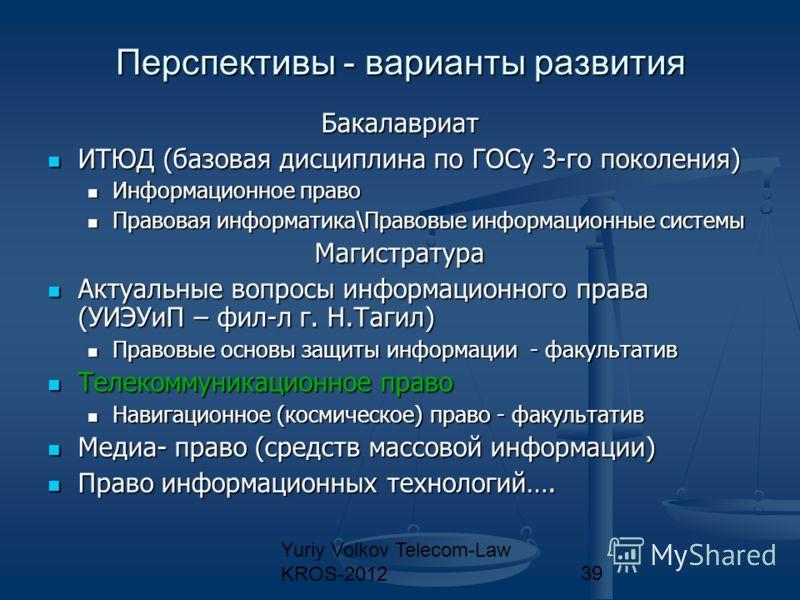 Yuriy Volkov Telecom-Law KROS-201239 Перспективы - варианты развития Бакалавриат ИТЮД (базовая дисциплина по ГОСу 3-го поколения) ИТЮД (базовая дисциплина по ГОСу 3-го поколения) Информационное право Информационное право Правовая информатика\Правовые