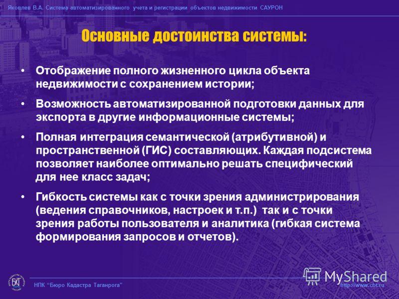 НПК Бюро Кадастра Таганрога http://www.cbt.ru Основные достоинства системы: Отображение полного жизненного цикла объекта недвижимости с сохранением истории; Возможность автоматизированной подготовки данных для экспорта в другие информационные системы