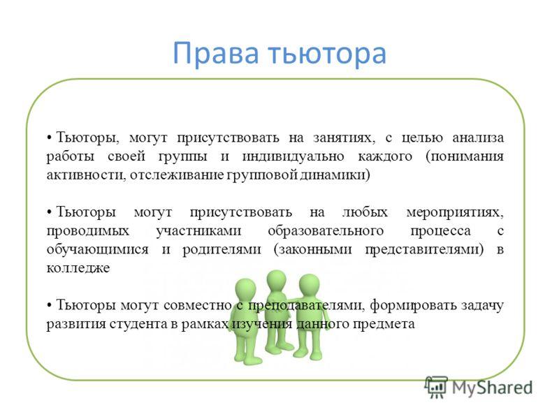 Права тьютора Тьюторы, могут присутствовать на занятиях, с целью анализа работы своей группы и индивидуально каждого (понимания активности, отслеживание групповой динамики) Тьюторы могут присутствовать на любых мероприятиях, проводимых участниками об