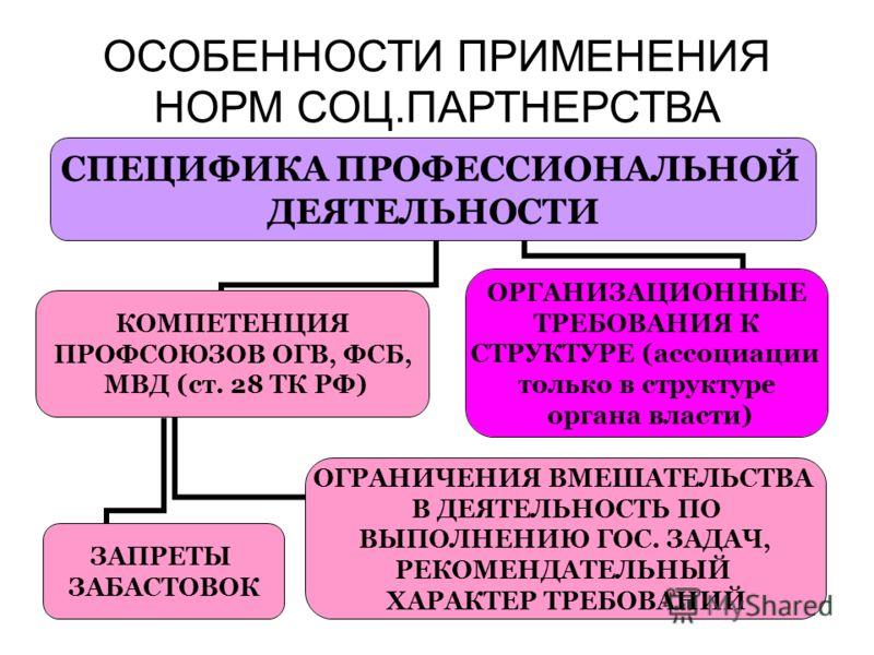 ОСОБЕННОСТИ ПРИМЕНЕНИЯ НОРМ СОЦ.ПАРТНЕРСТВА СПЕЦИФИКА ПРОФЕССИОНАЛЬНОЙ ДЕЯТЕЛЬНОСТИ КОМПЕТЕНЦИЯ ПРОФСОЮЗОВ ОГВ, ФСБ, МВД (ст. 28 ТК РФ) ОГРАНИЧЕНИЯ ВМЕШАТЕЛЬСТВА В ДЕЯТЕЛЬНОСТЬ ПО ВЫПОЛНЕНИЮ ГОС. ЗАДАЧ, РЕКОМЕНДАТЕЛЬНЫЙ ХАРАКТЕР ТРЕБОВАНИЙ ЗАПРЕТЫ ЗА
