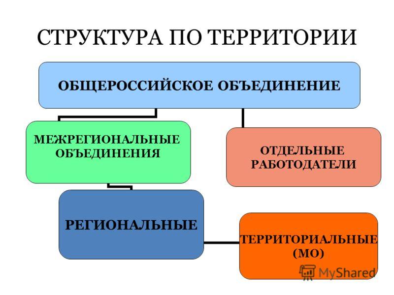 СТРУКТУРА ПО ТЕРРИТОРИИ ОБЩЕРОССИЙСКОЕ ОБЪЕДИНЕНИЕ МЕЖРЕГИОНАЛЬНЫЕ ОБЪЕДИНЕНИЯ РЕГИОНАЛЬНЫЕ ОТДЕЛЬНЫЕ РАБОТОДАТЕЛИ ТЕРРИТОРИАЛЬНЫЕ (МО)