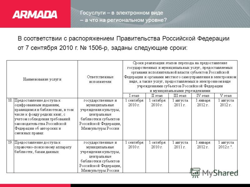 Госуслуги – в электронном виде – а что на региональном уровне? В соответствии с распоряжением Правительства Российской Федерации от 7 сентября 2010 г. 1506-р, заданы следующие сроки: