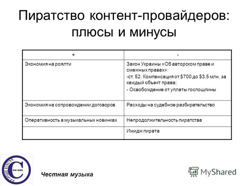 Пиратство контент-провайдеров: плюсы и минусы Честная музыка +- Экономия на роялтиЗакон Украины «Об авторском праве и смежных правах»: -ст. 52. Компенсация от $700 до $3,5 млн. за каждый объект права; - Освобождение от уплаты госпошлины Экономия на с