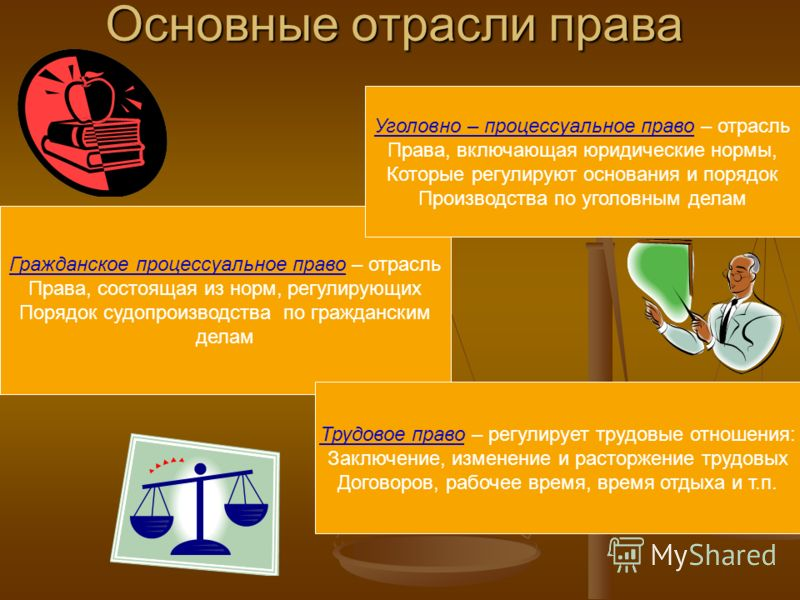 Основные отрасли права Гражданское процессуальное право – отрасль Права, состоящая из норм, регулирующих Порядок судопроизводства по гражданским делам Уголовно – процессуальное право – отрасль Права, включающая юридические нормы, Которые регулируют о