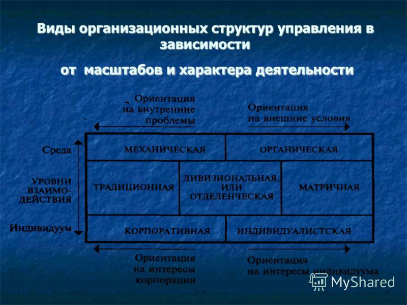 Виды организационных структур управления в зависимости от масштабов и характера деятельности