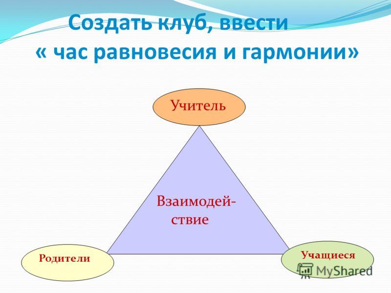 Взаимодей- ствие Родители Учитель Учащиеся Создать клуб, ввести « час равновесия и гармонии»