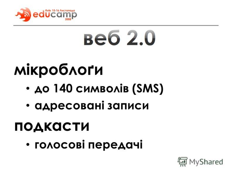 мікроблоґи до 140 символів (SMS) адресовані записи подкасти голосові передачі