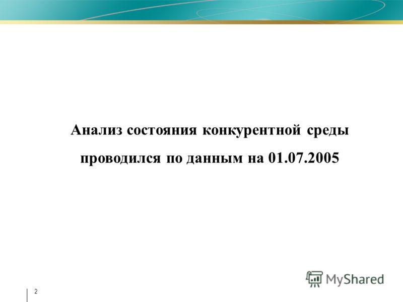2 Анализ состояния конкурентной среды проводился по данным на 01.07.2005