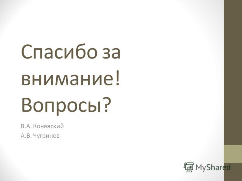 Спасибо за внимание! Вопросы? В.А. Конявский А.В. Чугринов