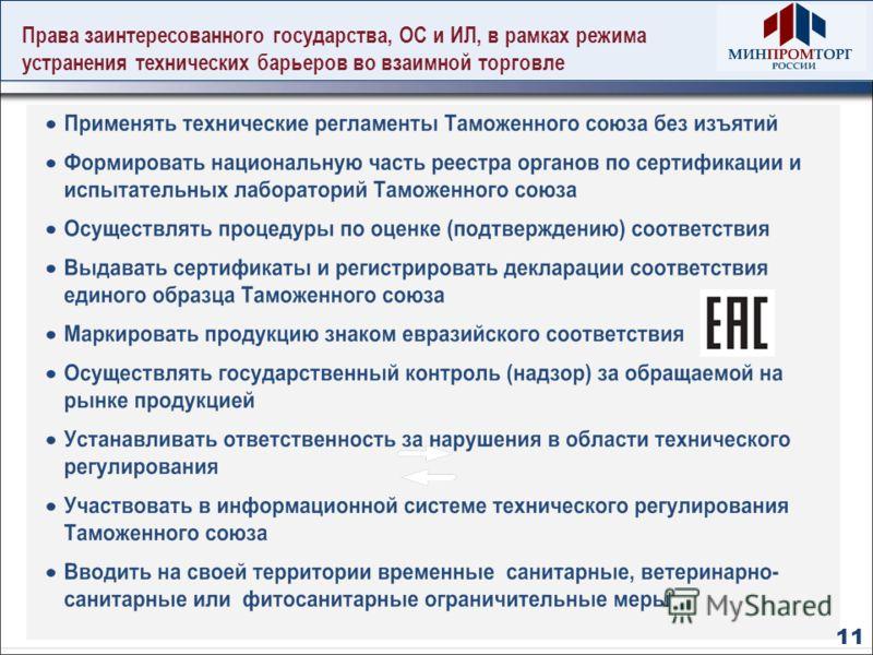 Права заинтересованного государства, ОС и ИЛ, в рамках режима устранения технических барьеров во взаимной торговле 11