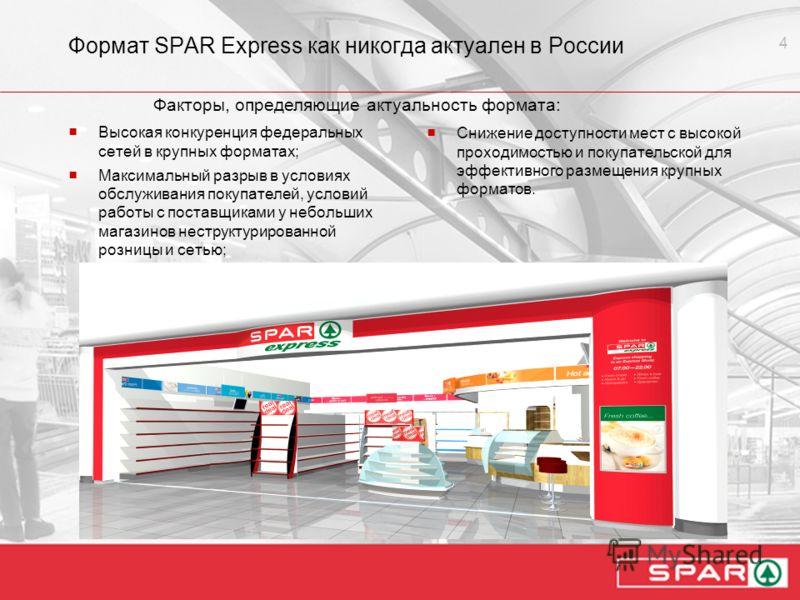 4 Формат SPAR Express как никогда актуален в России Высокая конкуренция федеральных сетей в крупных форматах; Максимальный разрыв в условиях обслуживания покупателей, условий работы с поставщиками у небольших магазинов неструктурированной розницы и с