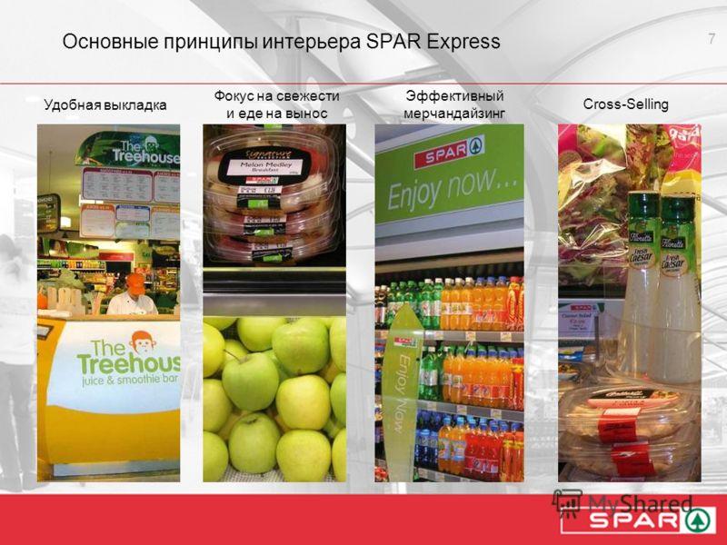 7 Основные принципы интерьера SPAR Express Удобная выкладка Фокус на свежести и еде на вынос Эффективный мерчандайзинг Сross-Selling