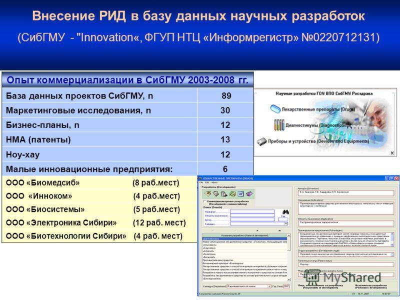 Внесение РИД в базу данных научных разработок (СибГМУ -