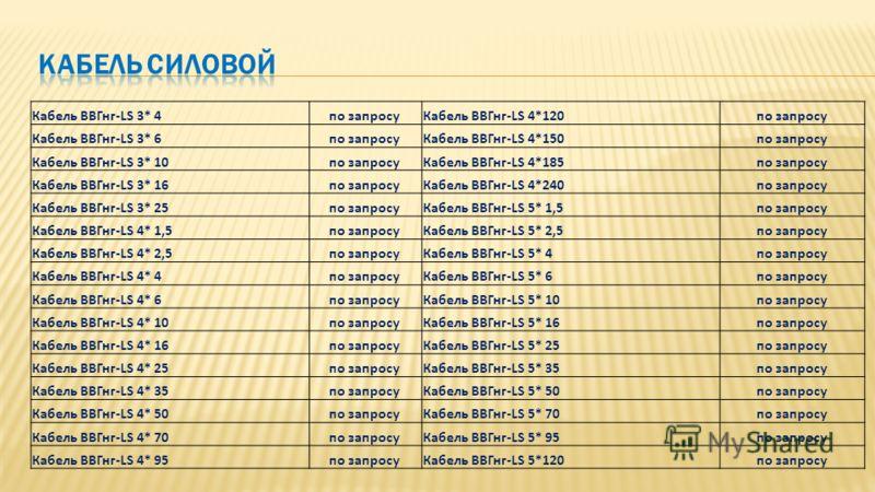 Кабель ВВГнг-LS 3* 4по запросуКабель ВВГнг-LS 4*120по запросу Кабель ВВГнг-LS 3* 6по запросуКабель ВВГнг-LS 4*150по запросу Кабель ВВГнг-LS 3* 10по запросуКабель ВВГнг-LS 4*185по запросу Кабель ВВГнг-LS 3* 16по запросуКабель ВВГнг-LS 4*240по запросу