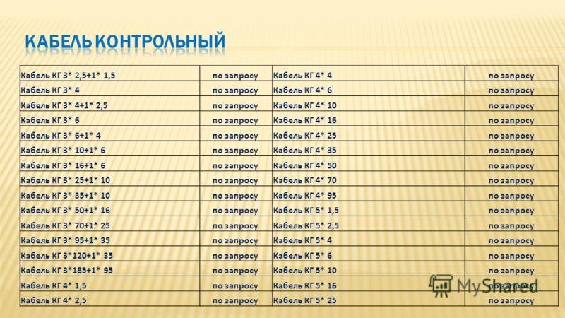 Кабель КГ 3* 2,5+1* 1,5по запросуКабель КГ 4* 4по запросу Кабель КГ 3* 4по запросуКабель КГ 4* 6по запросу Кабель КГ 3* 4+1* 2,5по запросуКабель КГ 4* 10по запросу Кабель КГ 3* 6по запросуКабель КГ 4* 16по запросу Кабель КГ 3* 6+1* 4по запросуКабель