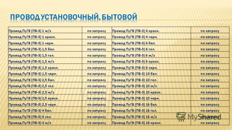 Провод ПуГВ (ПВ-3) 1 ж/зпо запросуПровод ПуГВ (ПВ-3) 4 красн.по запросу Провод ПуГВ (ПВ-3) 1 красн.по запросуПровод ПуГВ (ПВ-3) 4 черн.по запросу Провод ПуГВ (ПВ-3) 1 черн.по запросуПровод ПуГВ (ПВ-3) 6 бел.по запросу Провод ПуГВ (ПВ-3) 1,5 бел.по за