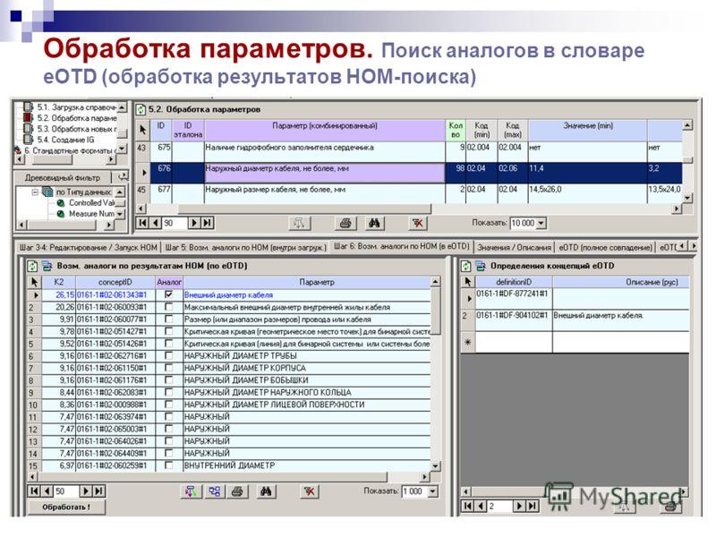 Обработка параметров. Поиск аналогов в словаре eOTD (обработка результатов НОМ-поиска)