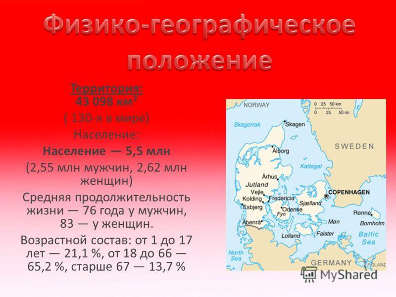 Территория: 43 098 км² ( 130-я в мире) Население: Население 5,5 млн (2,55 млн мужчин, 2,62 млн женщин) Средняя продолжительность жизни 76 года у мужчин, 83 у женщин. Возрастной состав: от 1 до 17 лет 21,1 %, от 18 до 66 65,2 %, старше 67 13,7 %