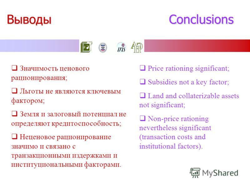 Выводы Conclusions Значимость ценового рационирования; Льготы не являются ключевым фактором; Земля и залоговый потенциал не определяют кредитоспособность; Неценовое рационирование значимо и связано с транзакционными издержками и институциональными фа