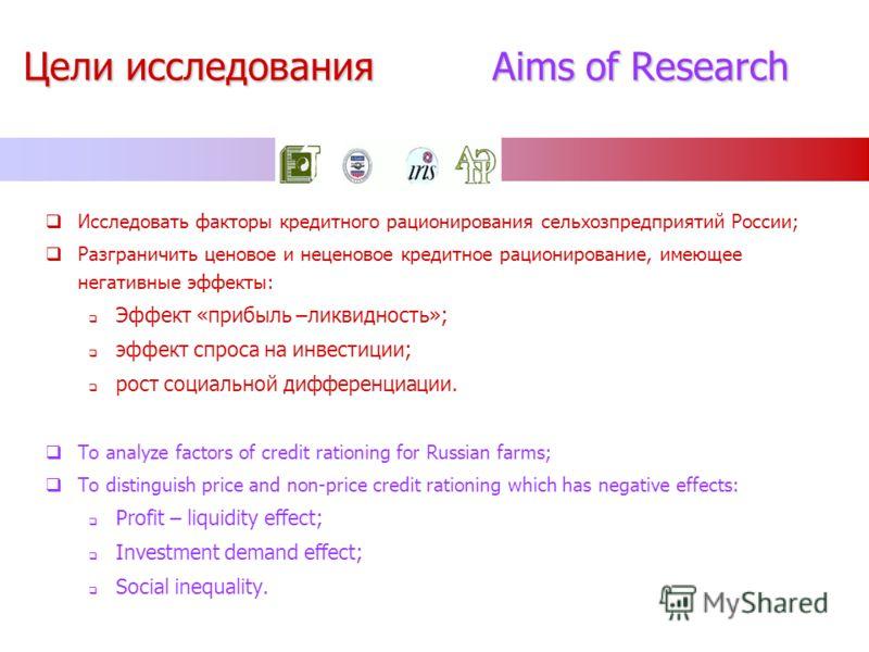 Цели исследования Aims of Research Исследовать факторы кредитного рационирования сельхозпредприятий России; Разграничить ценовое и неценовое кредитное рационирование, имеющее негативные эффекты: Эффект «прибыль –ликвидность»; эффект спроса на инвести