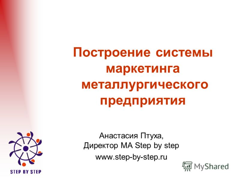 Построение системы маркетинга металлургического предприятия Анастасия Птуха, Директор МА Step by step www.step-by-step.ru