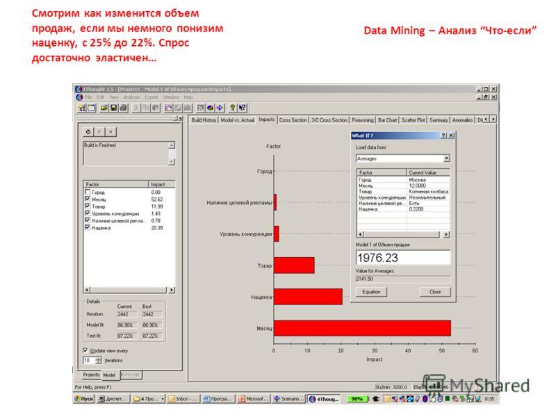 7 Data Mining – Анализ Что-если Смотрим как изменится объем продаж, если мы немного понизим наценку, с 25% до 22%. Спрос достаточно эластичен…