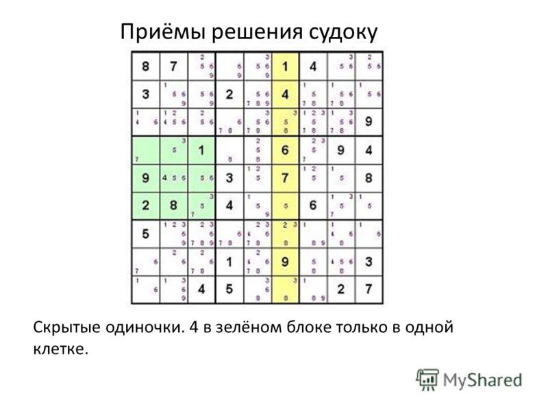 Приёмы решения судоку Скрытые одиночки. 4 в зелёном блоке только в одной клетке.